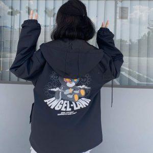 áo khoác dù gấu đen