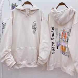 hoodie tên lửa màu kem