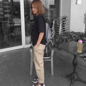 quần dài kaki màu be