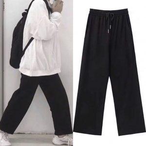quần thun ống rộng đen