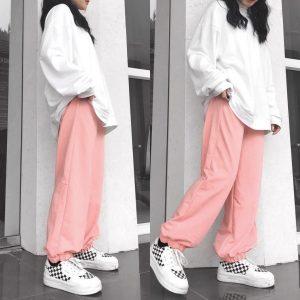 quần jogger thun hồng