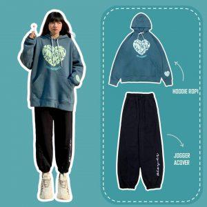 hoodie in trai tim xanh